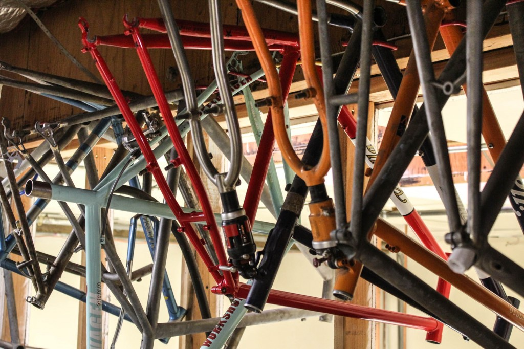 Tucked upstairs is an archive of Vanillas and Speedvagens of the past, including these ultra rare MTB soft tail frames.