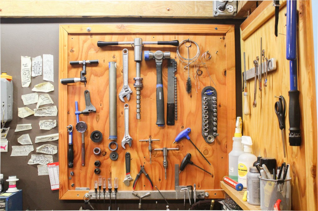 Tools from the build and finishing station upstairs.