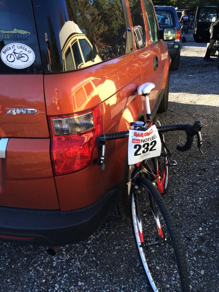 Bike setup pre-race.
