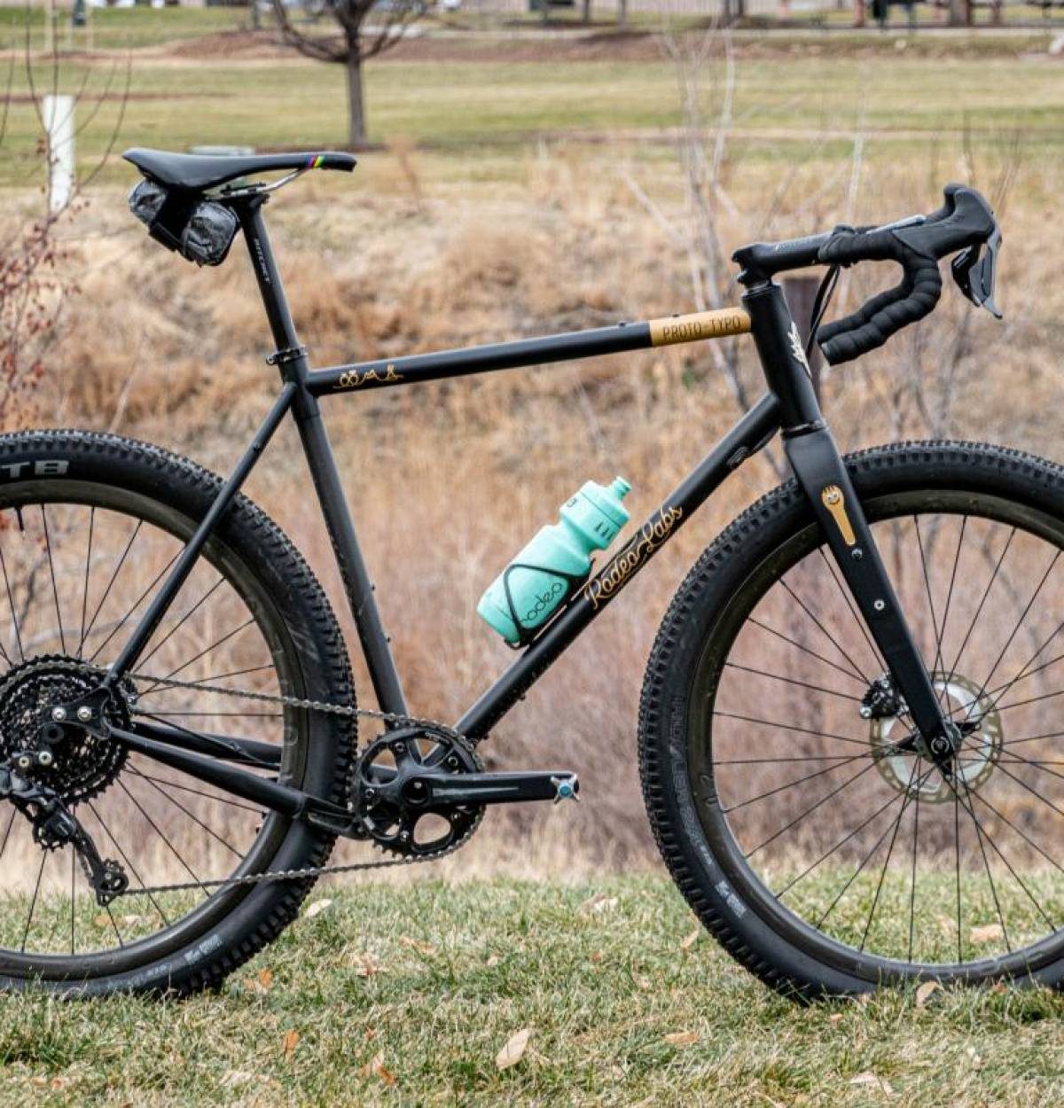 A gravel bicycle with absurdly large tires. To show the limits of tire size